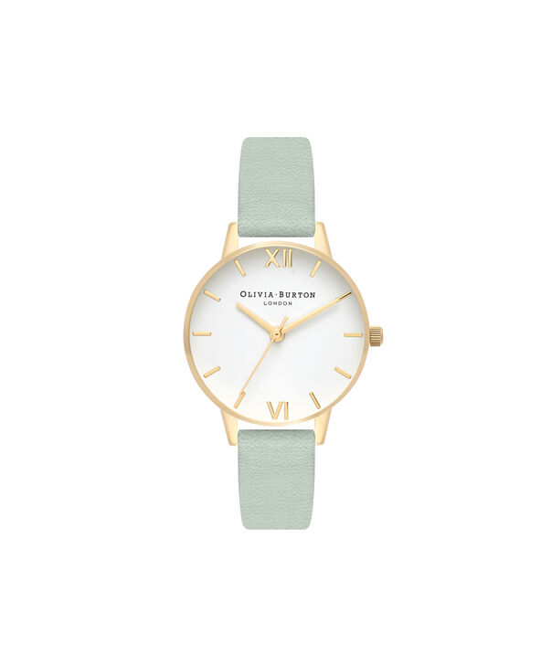 OLIVIA BURTON LONDON  White Dial Sage & Gold OB16MDW37 – Big Dial Round in Gold - Front view
