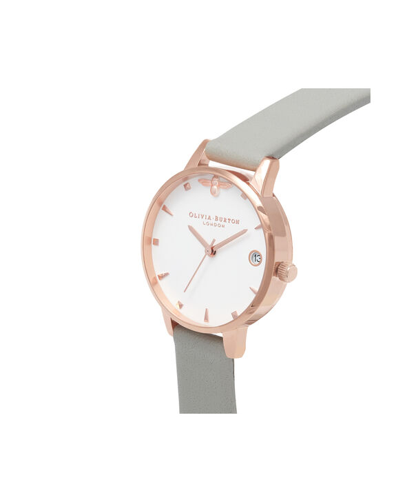 OLIVIA BURTON LONDON  Queen Bee Grey & Rose Gold Watch OB16AM126 – Midi Dial Round in White and Grey - Side view