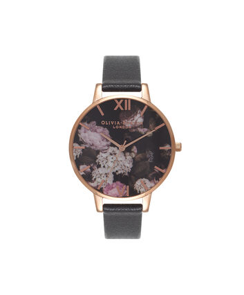 OLIVIA BURTON LONDON Signature FloralsOB15WG12 – Big Dial Round in Floral and Black - Front view