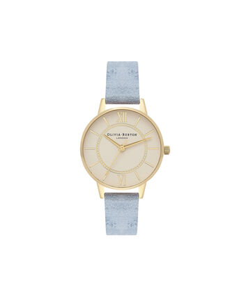 OLIVIA BURTON LONDON  Wonderland Chalk Blue Suede, Nude Dial & Gold OB16WD82 – Midi Dial Round in Gold and Chalk Blue - Front view