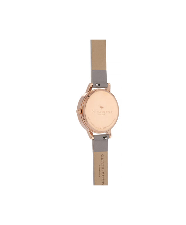 OLIVIA BURTON LONDON Lace Detail Midi Dial WatchOB16MV92 – Midi Dial in grey and Rose Gold - Back view