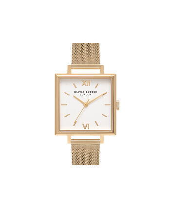 OLIVIA BURTON LONDON Square DialOB16SS11 – Big Dial Square in White and Gold - Front view