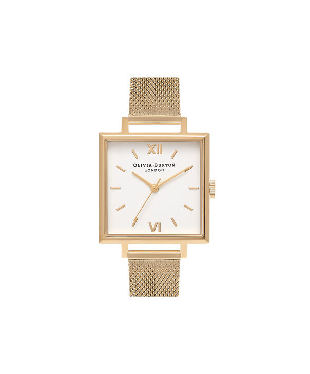 OLIVIA BURTON LONDON  Big Square Dial Gold Mesh Watch OB16SS11 – Big Dial Square in White and Gold - Front view