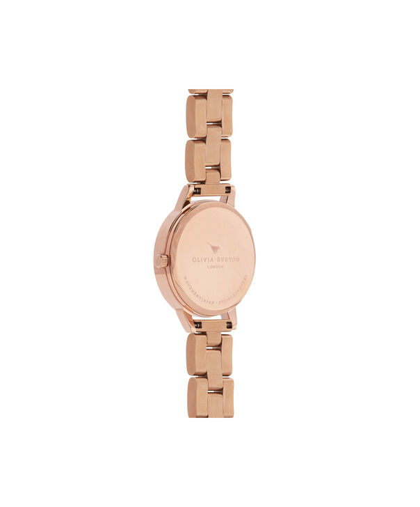 OLIVIA BURTON LONDON  Bejewelled Florals Navy Sunray & Rose Gold Bracelet OB16BF17 – Midi Dial Round in Rose Gold - Back view
