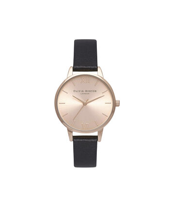 OLIVIA BURTON LONDON Sunray DialOB15MD39 – Midi Round in Rose Gold and Black - Front view