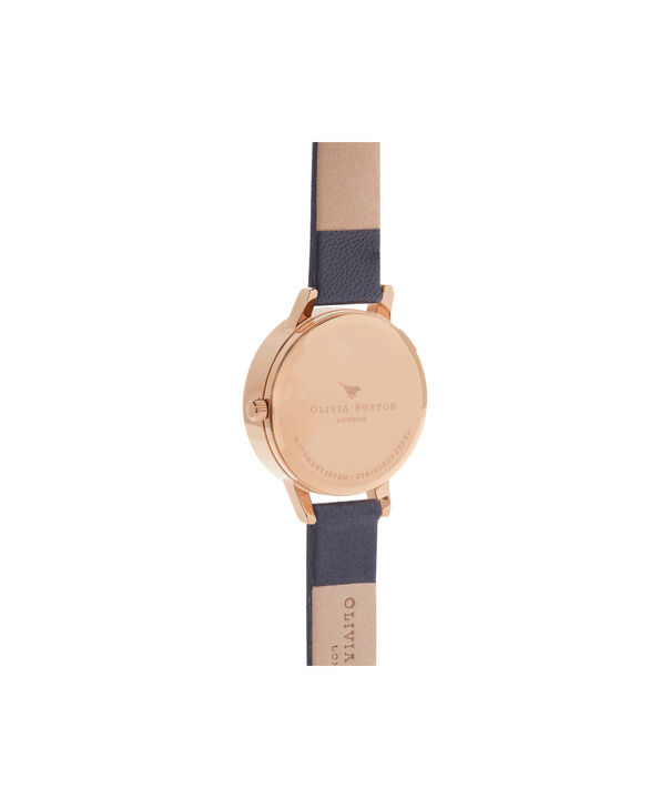OLIVIA BURTON LONDON  Signature Floral Navy & Rose Gold Watch OB16WG13 – Midi Dial Round in Floral and Navy - Back view