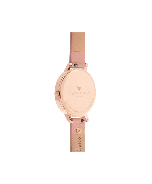 OLIVIA BURTON LONDON  Enchanted Garden Dusty Pink & Rose Gold OB16EG111 – Big Dial Round in Rose Gold and Pink - Back view