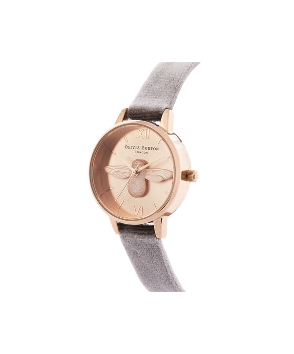 OLIVIA BURTON LONDON 3D Bee Midi Dial Watch with VelvetOB16AM160 – Midi Dial in grey and Rose Gold - Side view