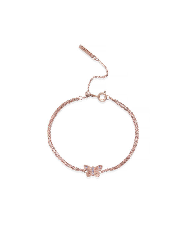 OLIVIA BURTON LONDON Bejewelled Butterfly Chain Bracelet Rose Gold & TanzaniteOBJ16MBB04 – Chain Bracelet in  and Rose Gold - Front view