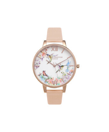 OLIVIA BURTON LONDON  Painterly Prints Hummingbird Nude Peach & Rose Gold Watch OB15PP12 – Big Dial Round in Floral and Peach - Front view