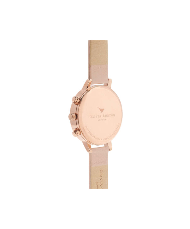 OLIVIA BURTON LONDON  Chrono Detail Nude Peach & Rose Gold Watch OB16CG88 – Big Dial Round in White and Peach - Back view
