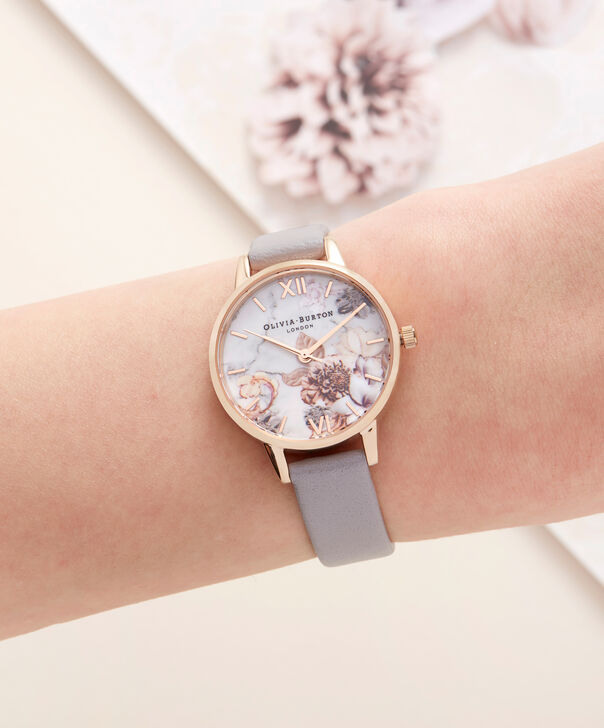 OLIVIA BURTON LONDON Marble Floral Grey Lilac & Rose Gold WatchOB16CS14 – Midi Dial Round in Floral Sand and Rose Gold - Other view