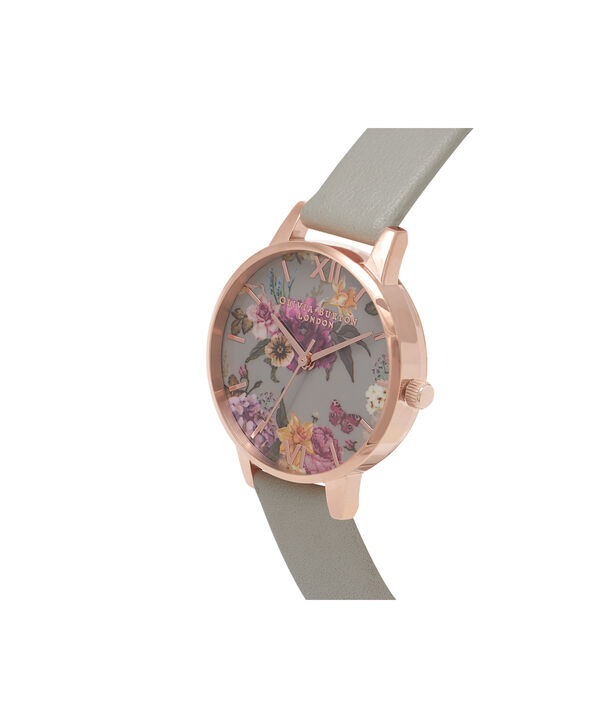 OLIVIA BURTON LONDON  Dark Bouquet Grey & Rose Gold Watch OB16EG80 – Midi Dial in Rose Gold and Grey - Side view