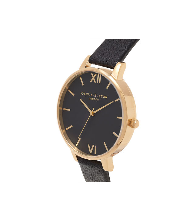 OLIVIA BURTON LONDON  Big Dial Black And Gold Watch OB15BD55 – Big Dial Round in Black - Side view
