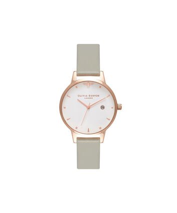 OLIVIA BURTON LONDON  Queen Bee Grey & Rose Gold Watch OB16AM126 – Midi Dial Round in White and Grey - Front view