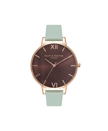 OLIVIA BURTON LONDON  Chocolate & Mint Green Rose Gold Watch OB16BD93 – Big Dial in Chocolate and Mint Green - Front view