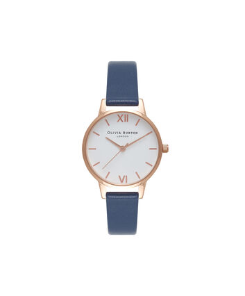 OLIVIA BURTON LONDON  White Dial Navy & Rose Gold Watch OB16MDW06 – Midi Dial Round in White and Navy - Front view
