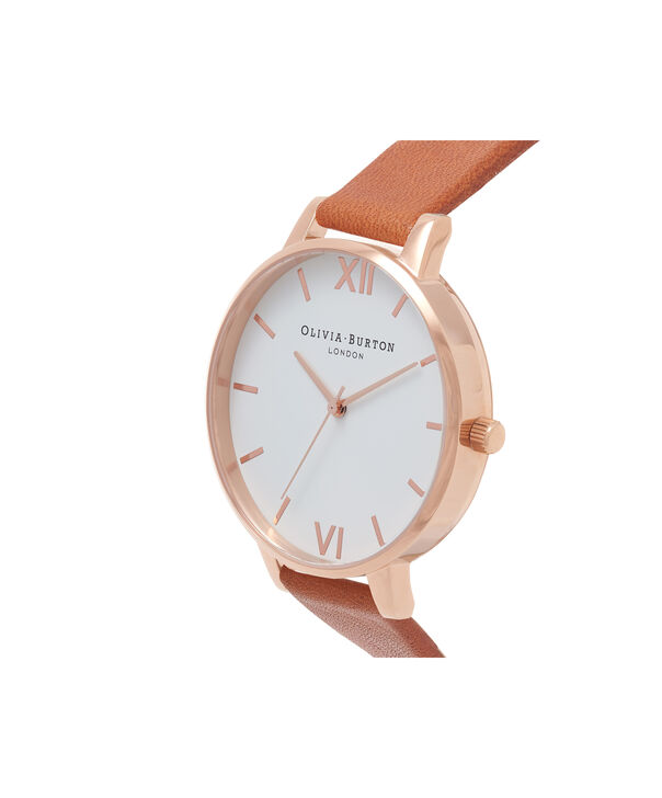 OLIVIA BURTON LONDON  White Dial Tan & Rose Gold Watch OB16BDW19 – Big Dial Round in White and Tan - Side view