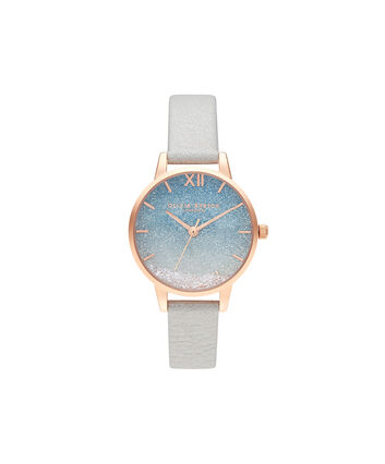 OLIVIA BURTON LONDON Wishing Wave Glitter Dial, Shimmer Pearl & Rose GoldOB16US26 – SHOPBAG_LABEL - Front view