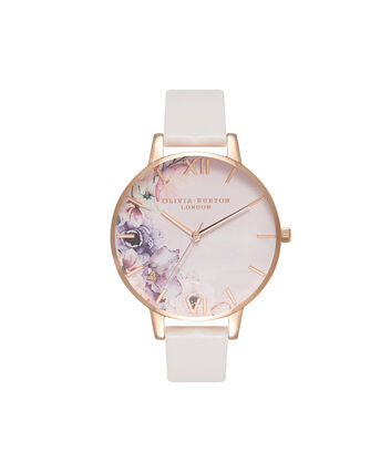 OLIVIA BURTON LONDON  Watercolour Florals Blush & Rose Gold Watch OB16PP31 – Big Dial Round in Floral and Blush - Front view