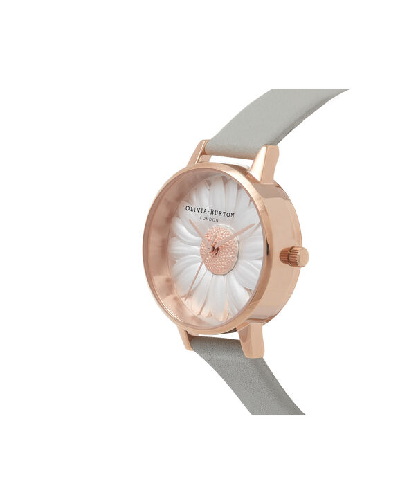 OLIVIA BURTON LONDON  3D Daisy Grey & Rose Gold Watch OB15EG50 – Midi Dial Round in White and Grey - Side view