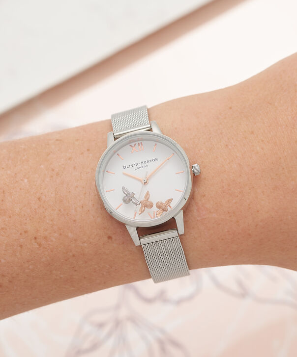 OLIVIA BURTON LONDON  Busy Bees Silver Mesh Watch OB16CH02 – Midi Dial Round in White and Silver - Other view
