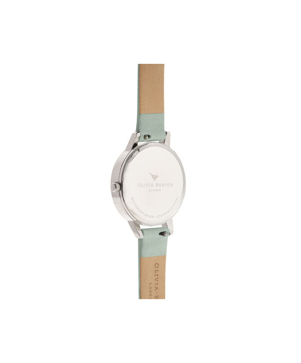 OLIVIA BURTON LONDON  Sunray Dial Sage & Silver OB16MD87 – Midi Dial Round in Silver and Sage - Back view
