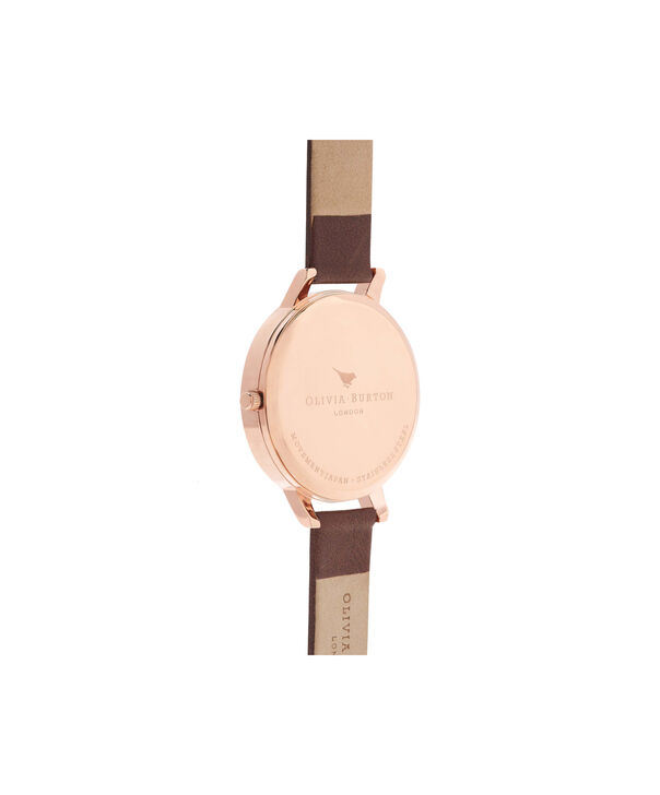 OLIVIA BURTON LONDON  White Dial Chocolate & Rose Gold Watch OB16BDW32 – Big Dial in Rose Gold and Chocolate - Back view