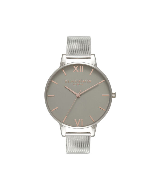 OLIVIA BURTON LONDON  Big Dial Grey Dial & Silver Mesh Watch OB15BD80 – Big Dial Round in Grey and Silver - Front view