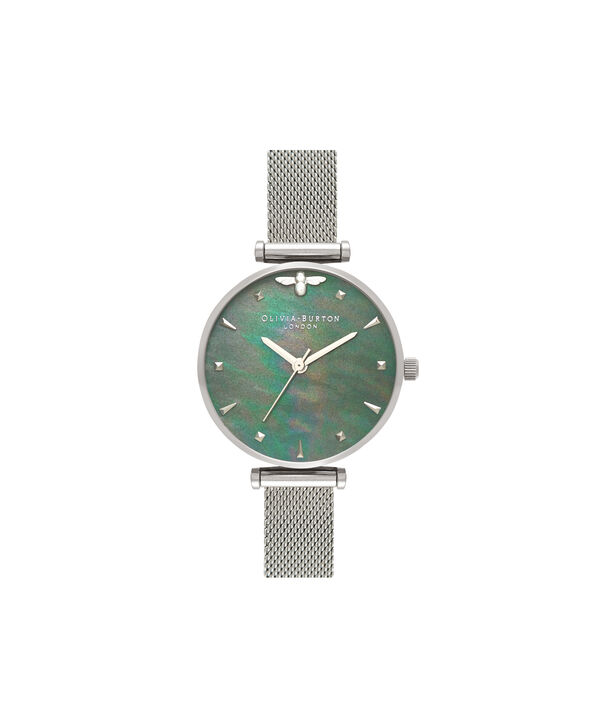 OLIVIA BURTON LONDON  Queen Bee Blue Mother of Pearl Silver Mesh OB16AM151 – Midi Dial Round in Silver - Front view