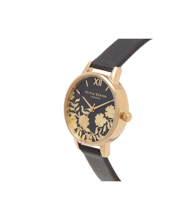 OLIVIA BURTON LONDON Lace Detail Black & Gold Watch OB16MV60 – Midi Dial Round in Black - Side view