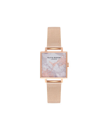 OLIVIA BURTON LONDON Abstract FloralsOB16VM18 – Midi Dial Square in White Floral and Rose Gold - Front view