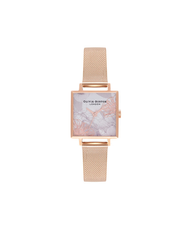 OLIVIA BURTON LONDON Abstract Florals Rose Gold Mesh Watch  OB16VM18 – Midi Dial Square in White Floral and Rose Gold - Front view