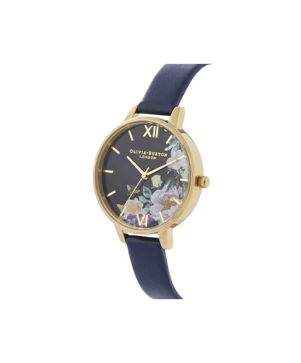 OLIVIA BURTON LONDON Enchanted Garden Demi Dial WatchOB16EG113 – Demi Dial in blue and Gold - Side view