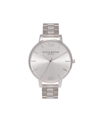 OLIVIA BURTON LONDON  Big Dial Bracelet Silver Watch OB15BL22 – Big Dial Round in Silver - Front view