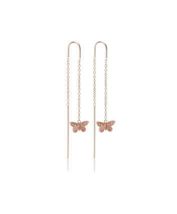 OLIVIA BURTON LONDON 3D Butterfly Threader Earrings Rose GoldOBJMBE09 – Earrings in Rose Gold - Front view