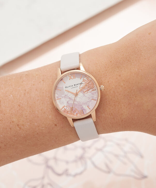 OLIVIA BURTON LONDON Abstract Florals Blush & Rose Gold Watch OB16VM12 – Midi Dial Round in White and Blush - Other view