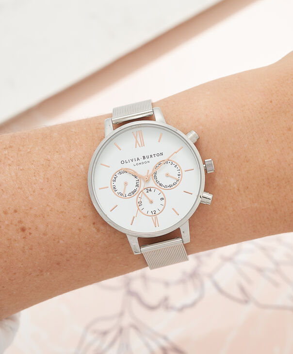 OLIVIA BURTON LONDON  Chrono Detail Rose Gold & Silver Mesh Watch OB16CG87 – Big Dial Round in White and Silver - Other view