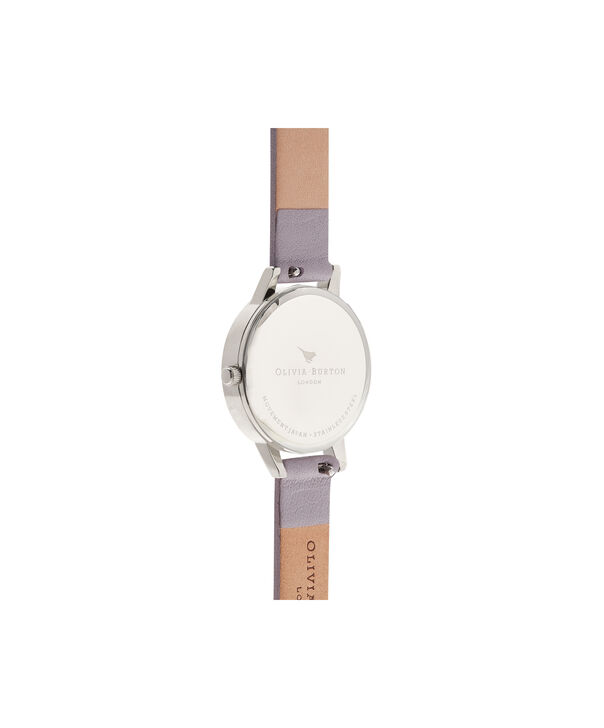 OLIVIA BURTON LONDON  Lace Detail Grey Lilac & Silver Watch OB16MV76 – Midi Dial Round in Grey Lilac and Silver - Back view