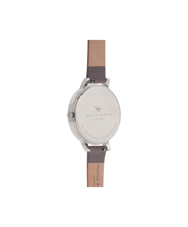 OLIVIA BURTON LONDON  Enchanted Garden London Grey & Silver Watch OB16WG38 – Big Dial Round in Floral and London Grey - Back view
