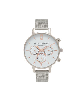 OLIVIA BURTON LONDON Chrono DetailOB16CG87 – Big Dial Round in White and Silver - Front view