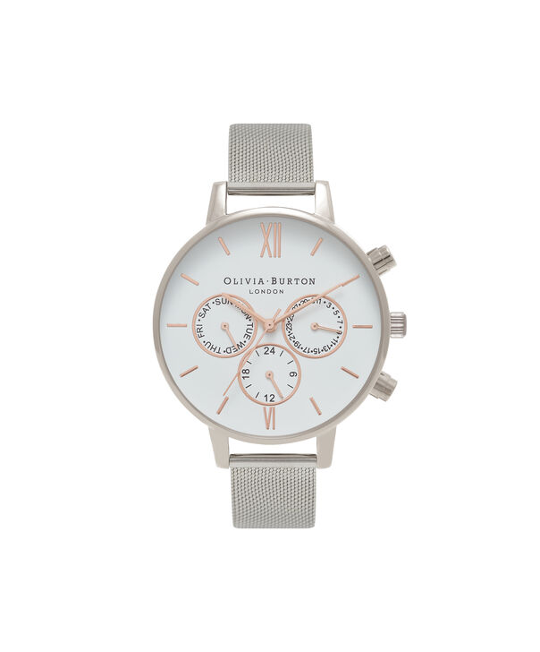 OLIVIA BURTON LONDON  Chrono Detail Rose Gold & Silver Mesh Watch OB16CG87 – Big Dial Round in White and Silver - Front view