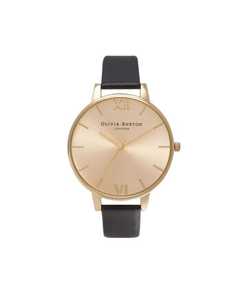 OLIVIA BURTON LONDON Sunray DialOB13BD06 – Big Dial Round in Gold and Black - Front view