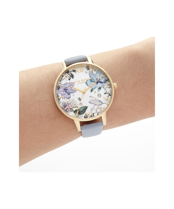 OLIVIA BURTON LONDON Bejewelled Florals Big Dial Chalk Blue & GoldOB16BF21 – Demi Dial In Blue And Gold - Other view