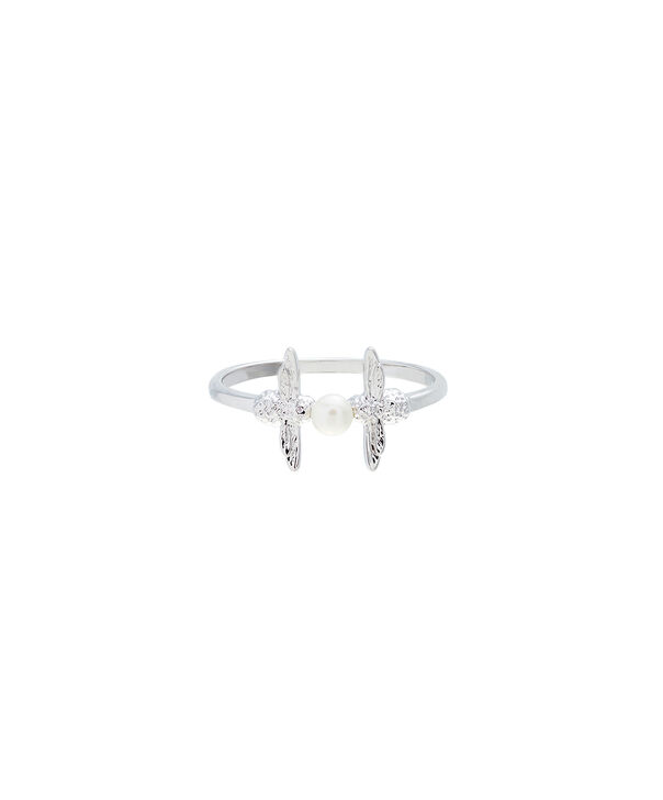 OLIVIA BURTON LONDON  Pearl Bee Ring Silver LOBJ16AMR13L – Pearl Bee Ring - Front view