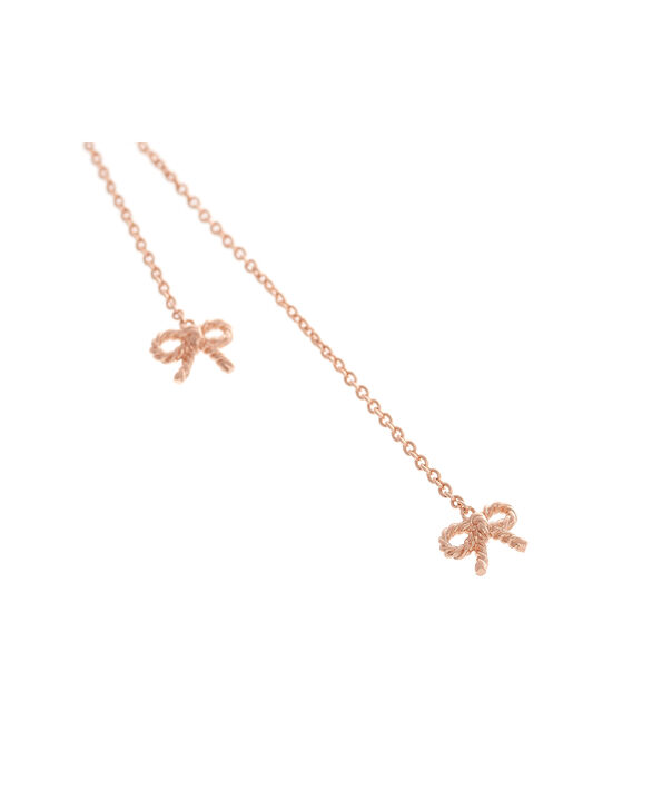 OLIVIA BURTON LONDON  Vintage Bow Lariat Necklace Rose Gold OBJ16VBN27 – Vintage Bow Lariat Necklace - Side view
