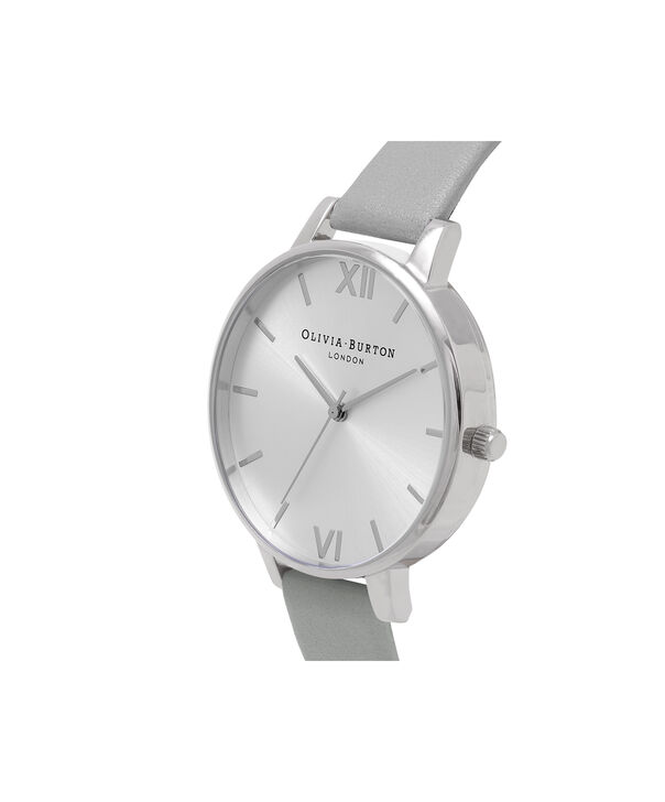 OLIVIA BURTON LONDON  Big Dial Grey And Silver Watch OB15BD57 – Big Dial Round in Silver and Grey - Side view