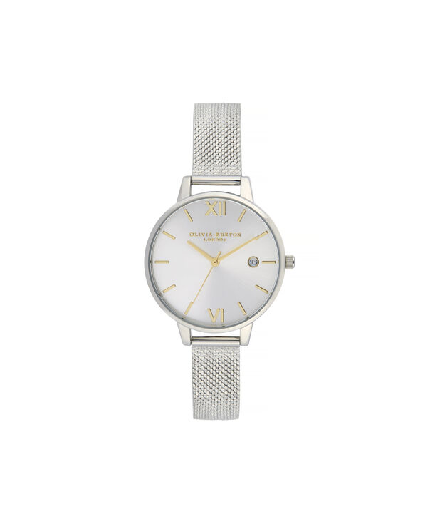 OLIVIA BURTON LONDON Sunray Demi Dial Watch with Boucle MeshOB16DE02 – Demi Dial in silver and Silver & Gold - Front view