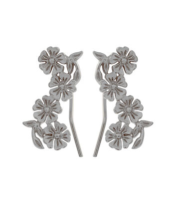 OLIVIA BURTON LONDON  Lace Detail Crawler Earrings Silver OBJ16LDE06 – Lace Detail Crawler Earrings - Front view