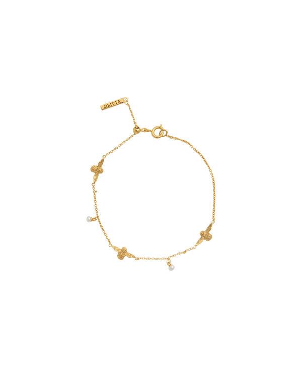 OLIVIA BURTON LONDON  Pearl Bee Chain Bracelet Gold OBJ16AMB40 – Pearl Bee Chain Bracelet - Front view